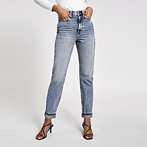 Carrie - Blauwe high rise mom jeans
