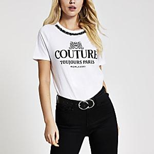 Wit T-shirt met 'Couture'-tekst en RR-print
