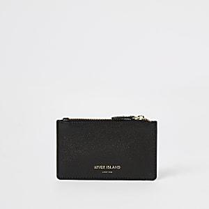 Porte-cartes en cuir noir zippé