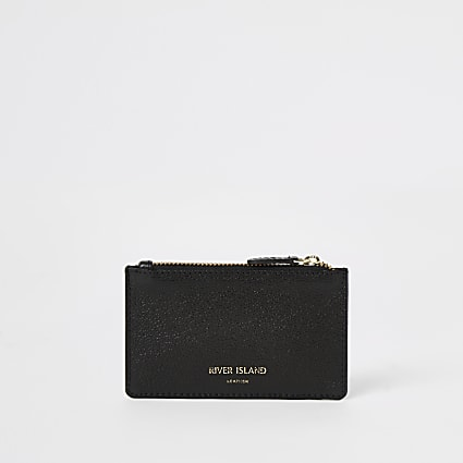 Black leather zip top card holder