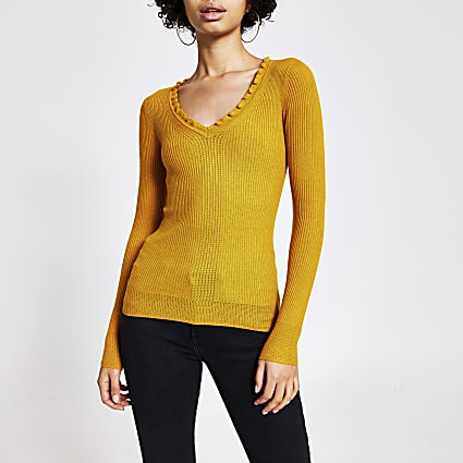 Yellow frill V neck rib knitted jumper