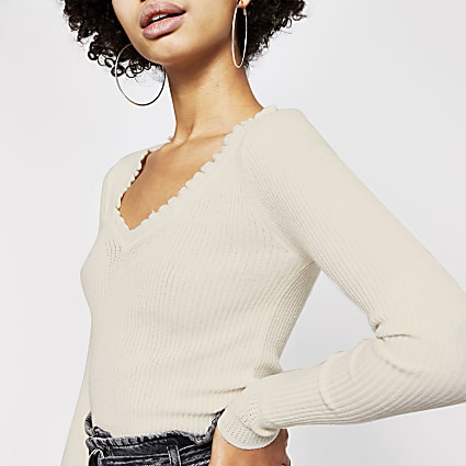 Cream frill V neck rib knitted jumper