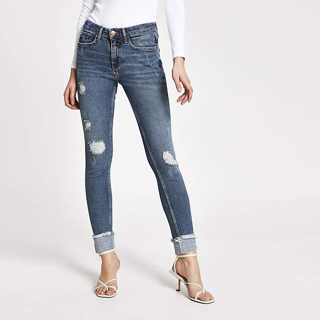 Blue ripped Amelie super skinny jeans
