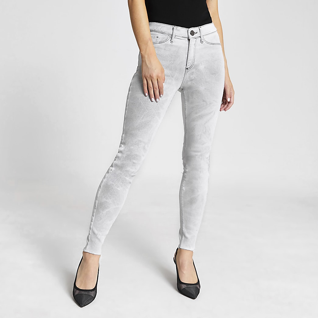 Molly - Grijze washed mid rise jegging