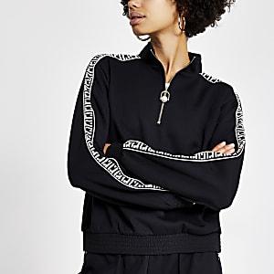 Schwarzes Sweatshirt im Loose Fit mit RI-Monogramm-Band