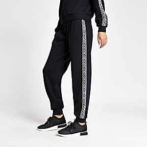 Black RI monogram side loose fit joggers