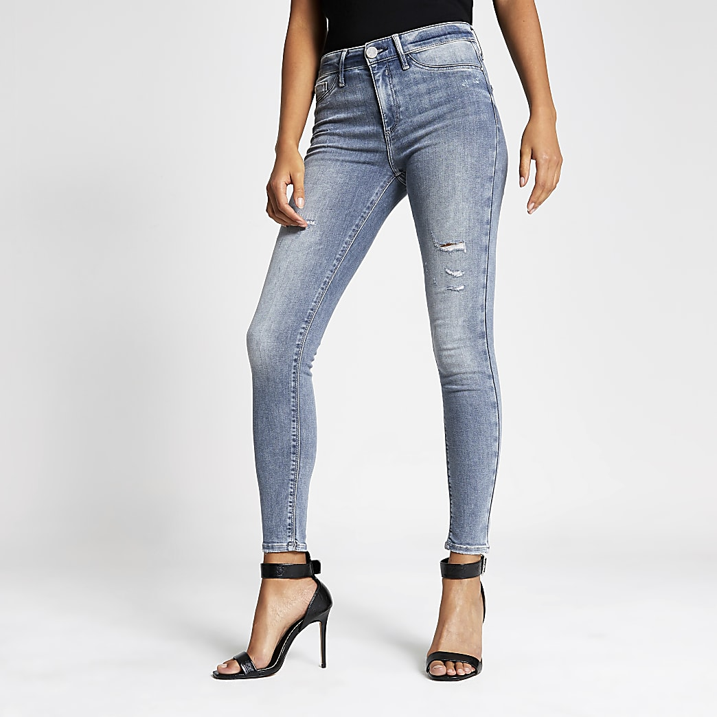 Molly - Grijze ripped jegging met halfhoge taille