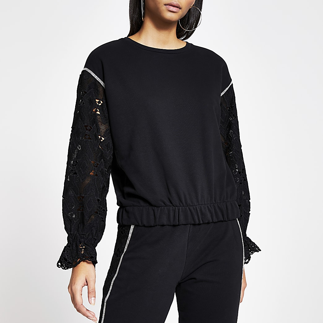 Black long broderie sleeve loose sweatshirt