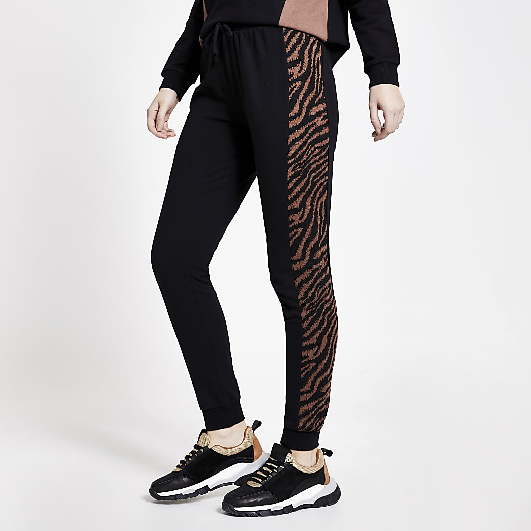 Black animal print blocked joggers