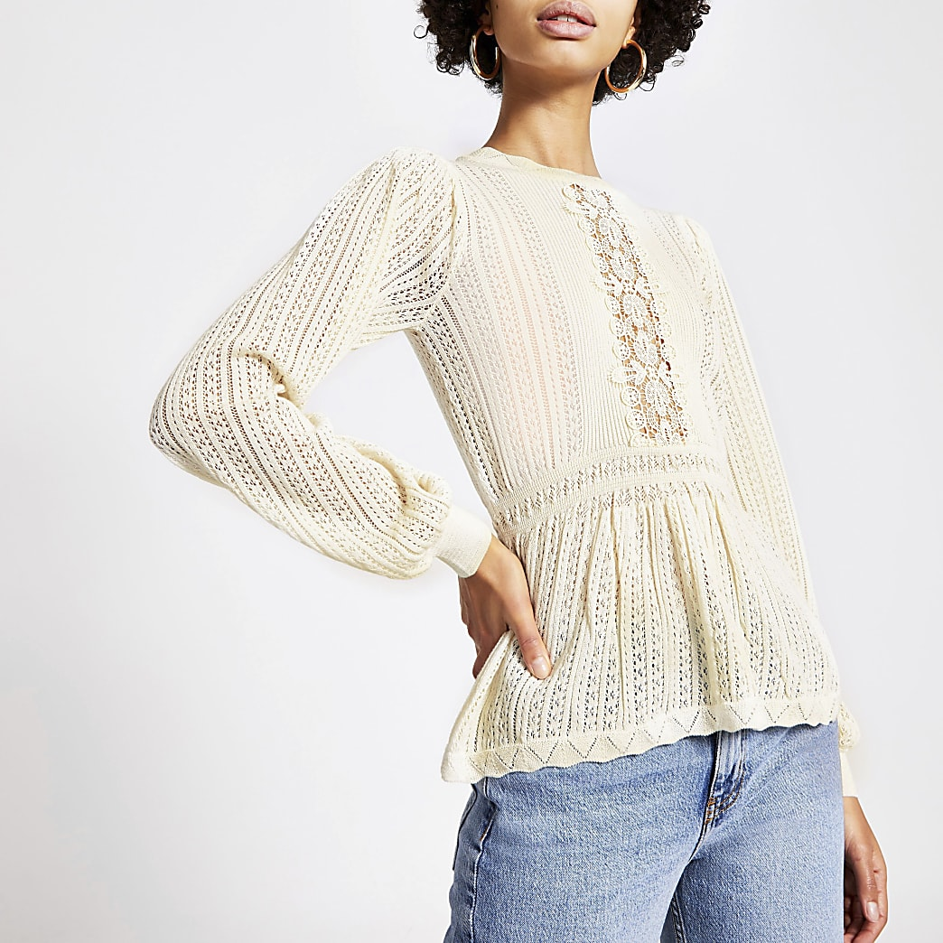 Cream lace peplum knitted jumper