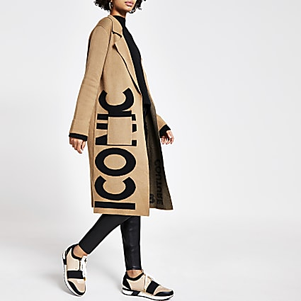 Brown printed longline knitted duster coat