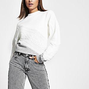 Geblocktes Sweatshirt aus Strick in Creme mit Zopfmuster