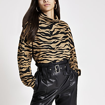 Brown animal print high neck sweatshirt