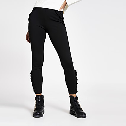 Black frill mesh trim ponte leggings