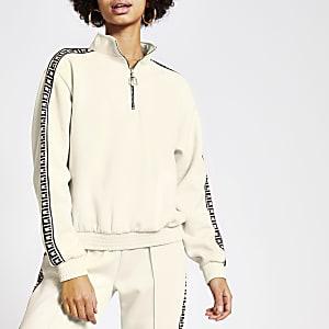 Loose Fit Sweatshirt in Creme mit RI-Tape und Teilreißverschluss