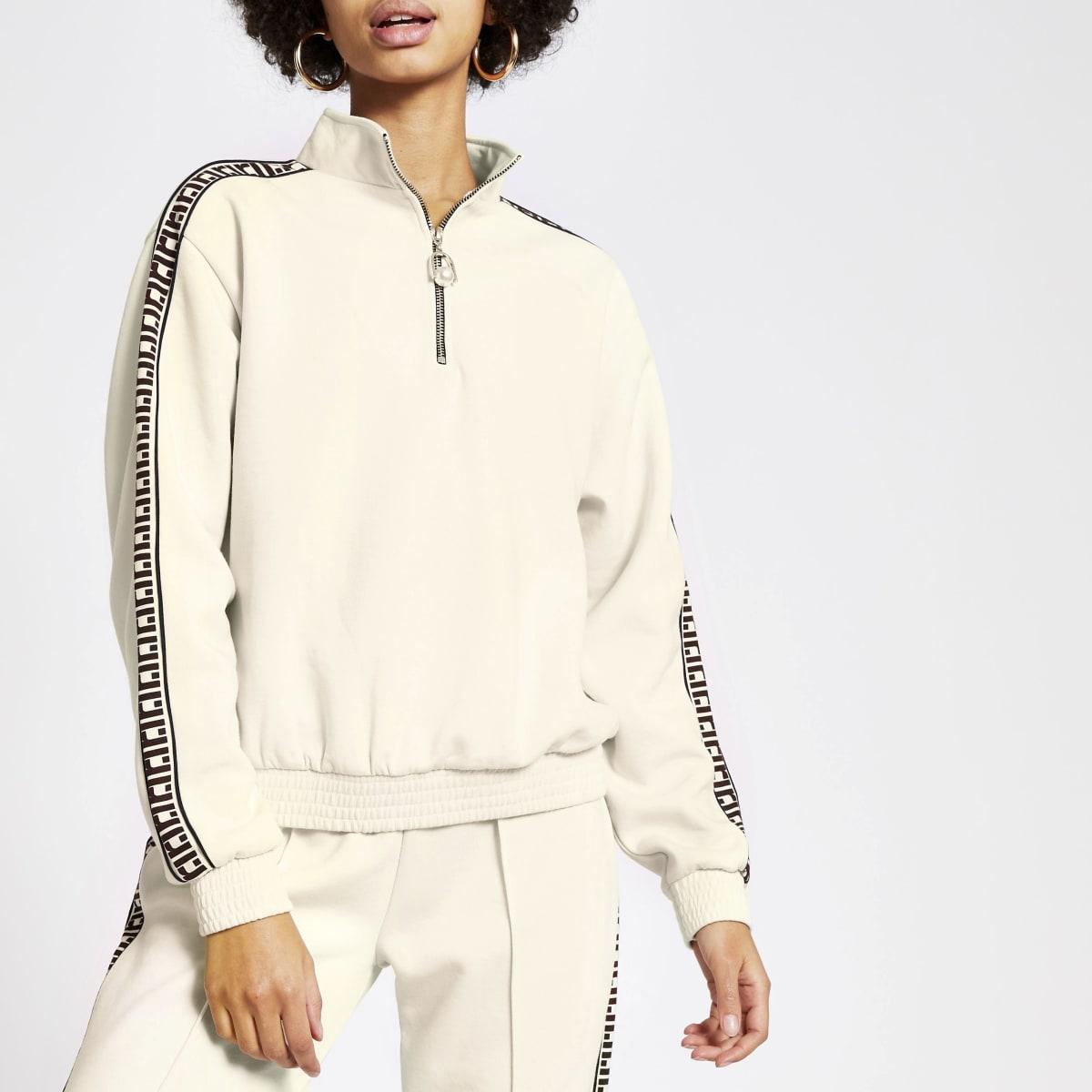 Crèmekleurige loose-fit sweater met halve ritssluiting en RI-bies