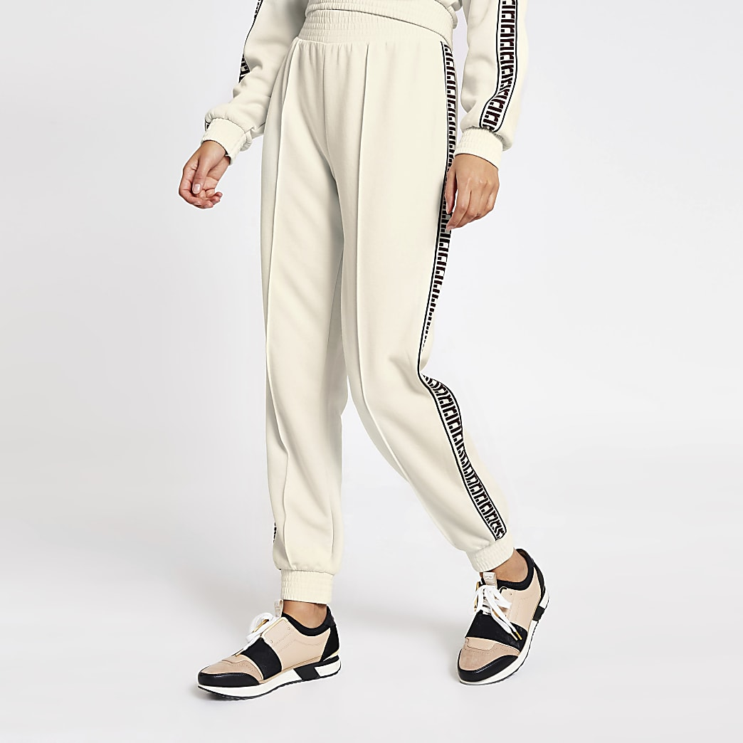 Cream RI tape side loose fit joggers