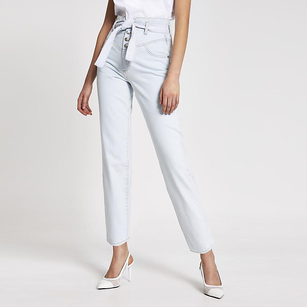 Lichtblauwe high rise tapered jeans met ceintuur