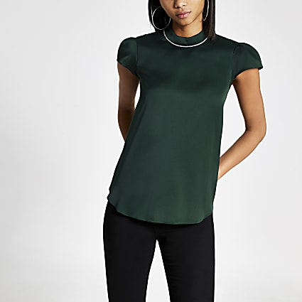 Dark green diamante collar short sleeve top