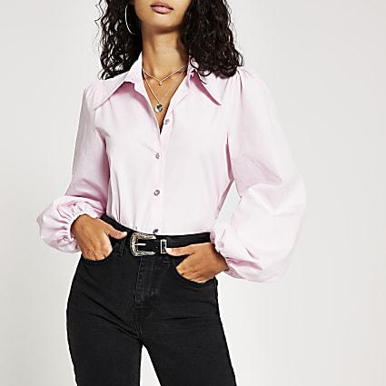 Pink long balloon sleeve shirt
