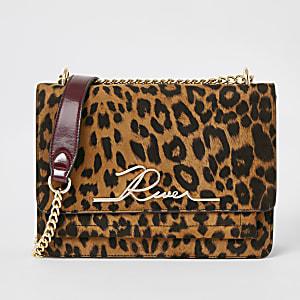 Bruine 'River' satchel-tas met luipaardprint