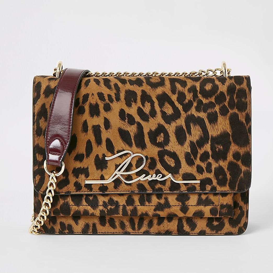 Brown leopard print 'River' satchel bag