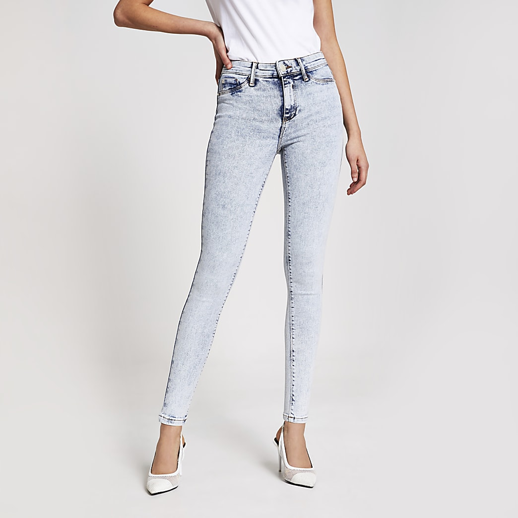 Lichtblauwe acid wash Molly jeggings met halfhoge taille