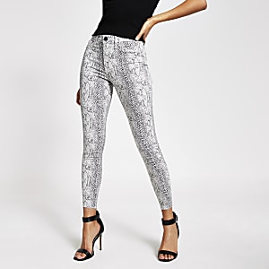 Grijze Molly jeggings met middenhoge taille en slangenprint