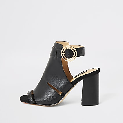 Black cutout open toe heeled wide fit boots