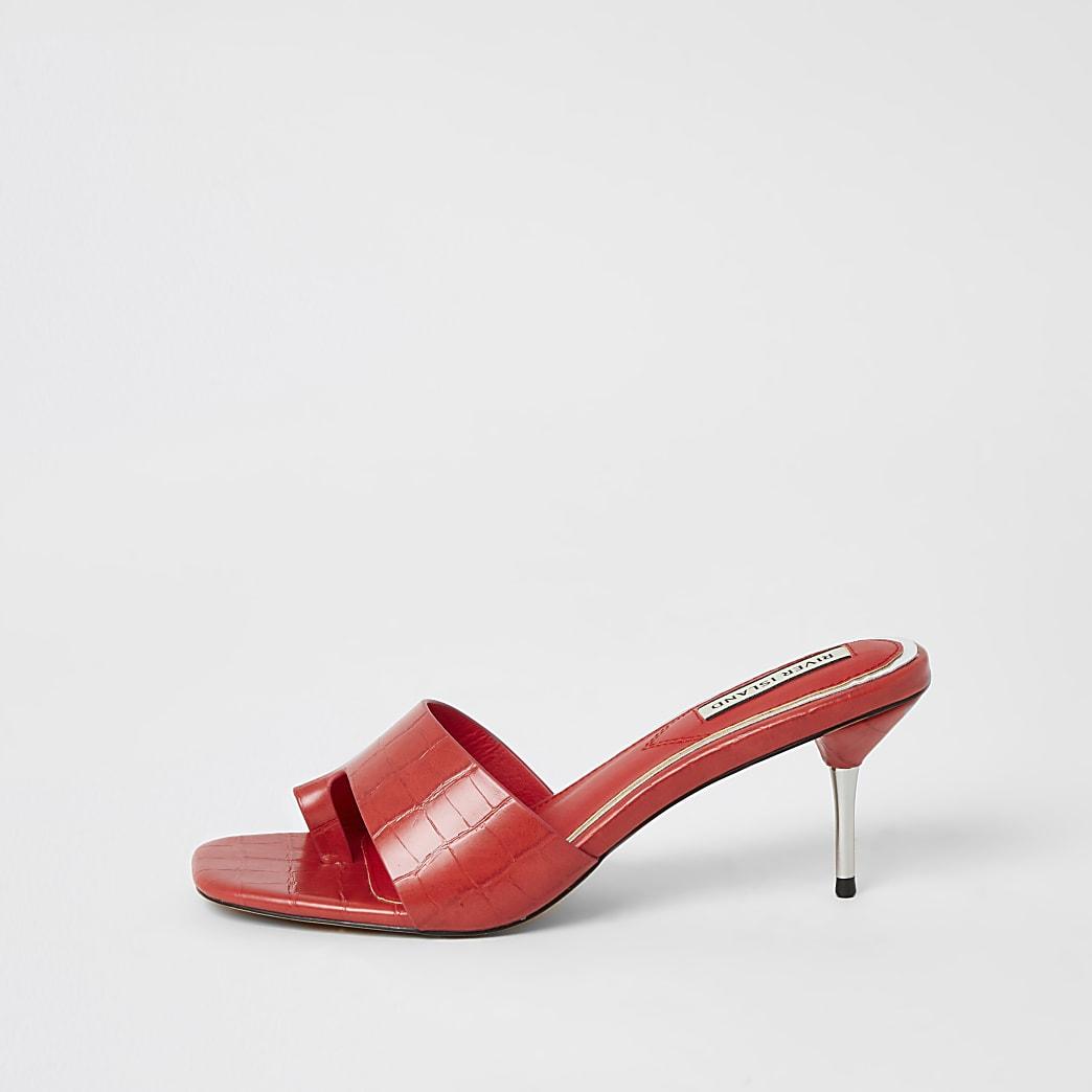 Coral toe loop heeled mule sandals