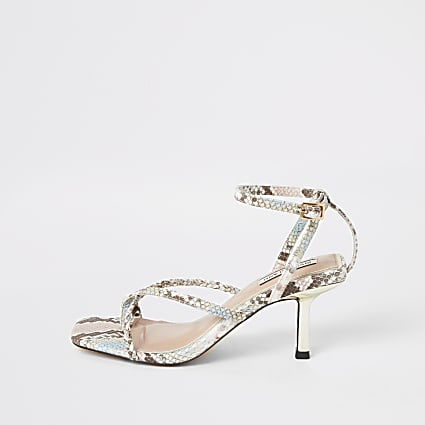 Pink snake printed strappy toe loop sandals