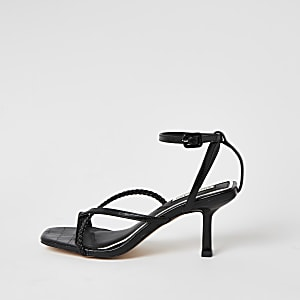 Black square toe midi heel sandals