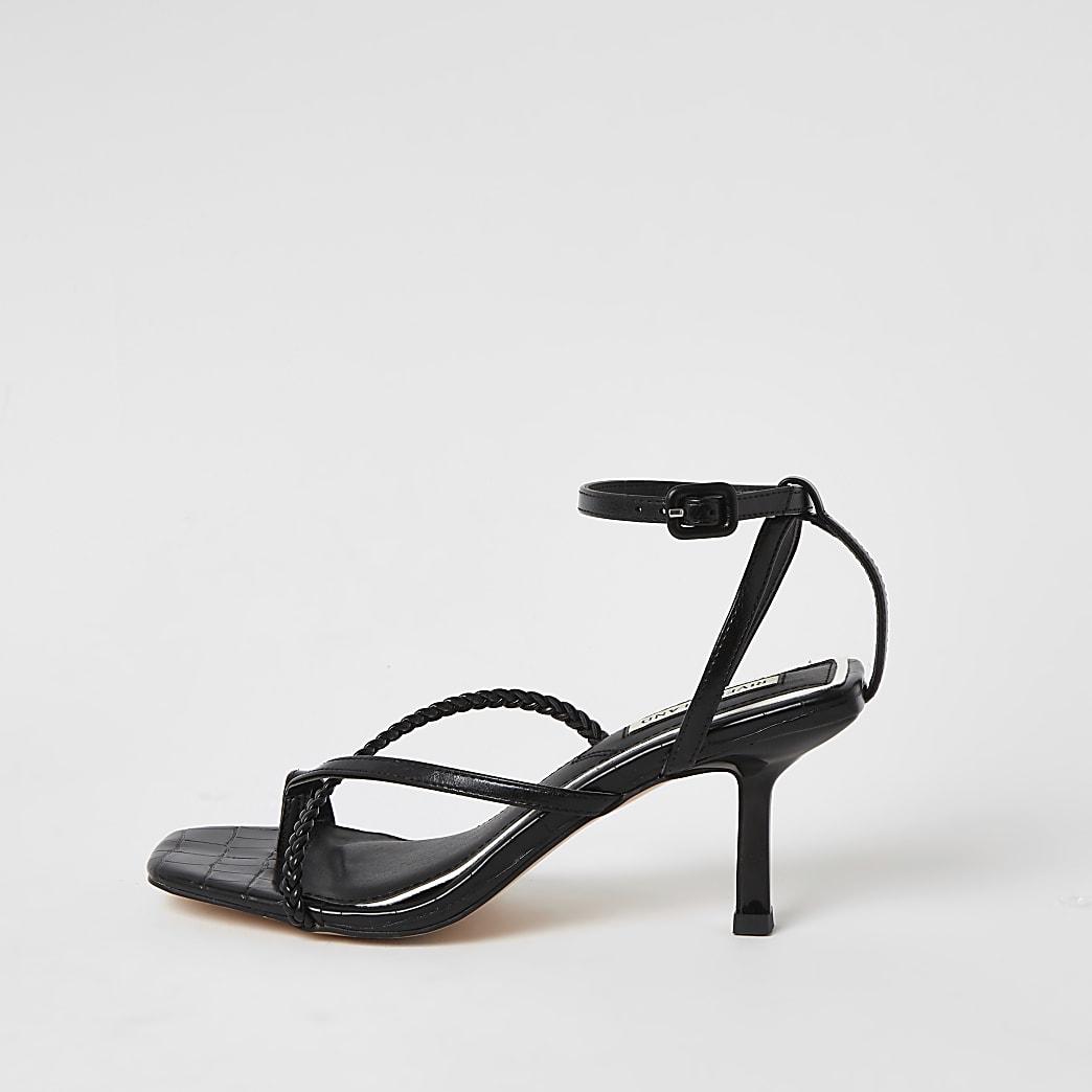 Sandales noires à bout carré et talon mi-haut