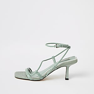 Groene sandalen met met midi-hak en rechthoekige neus