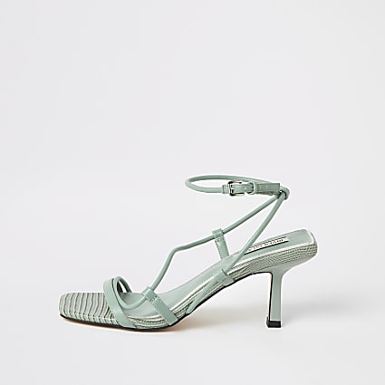 Green square toe midi heel sandals