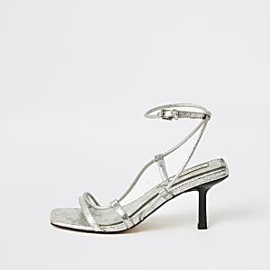Metallic zilverkleurige sandalen met met midi-hak en rechthoekige neus