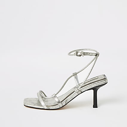 Silver metallic square toe midi heel sandals