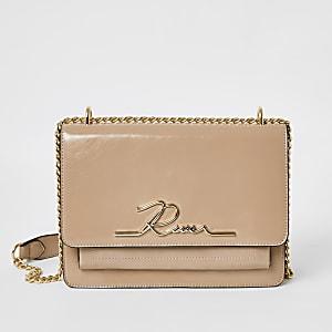 Roze lakleren 'River' satchel-tas
