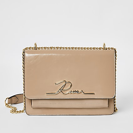 Pink patent 'River' satchel bag