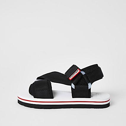 Hunter Originals black velcro strappy sandals