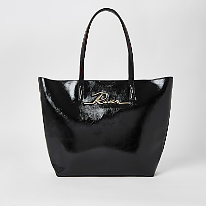 Black patent 'River' shopper tote bag