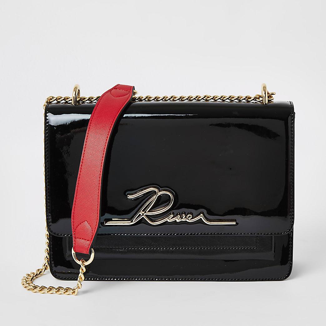 Black patent 'River' satchel bag