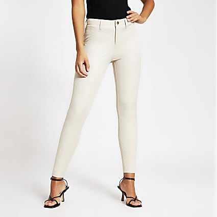 Cream Molly twill skinny trousers
