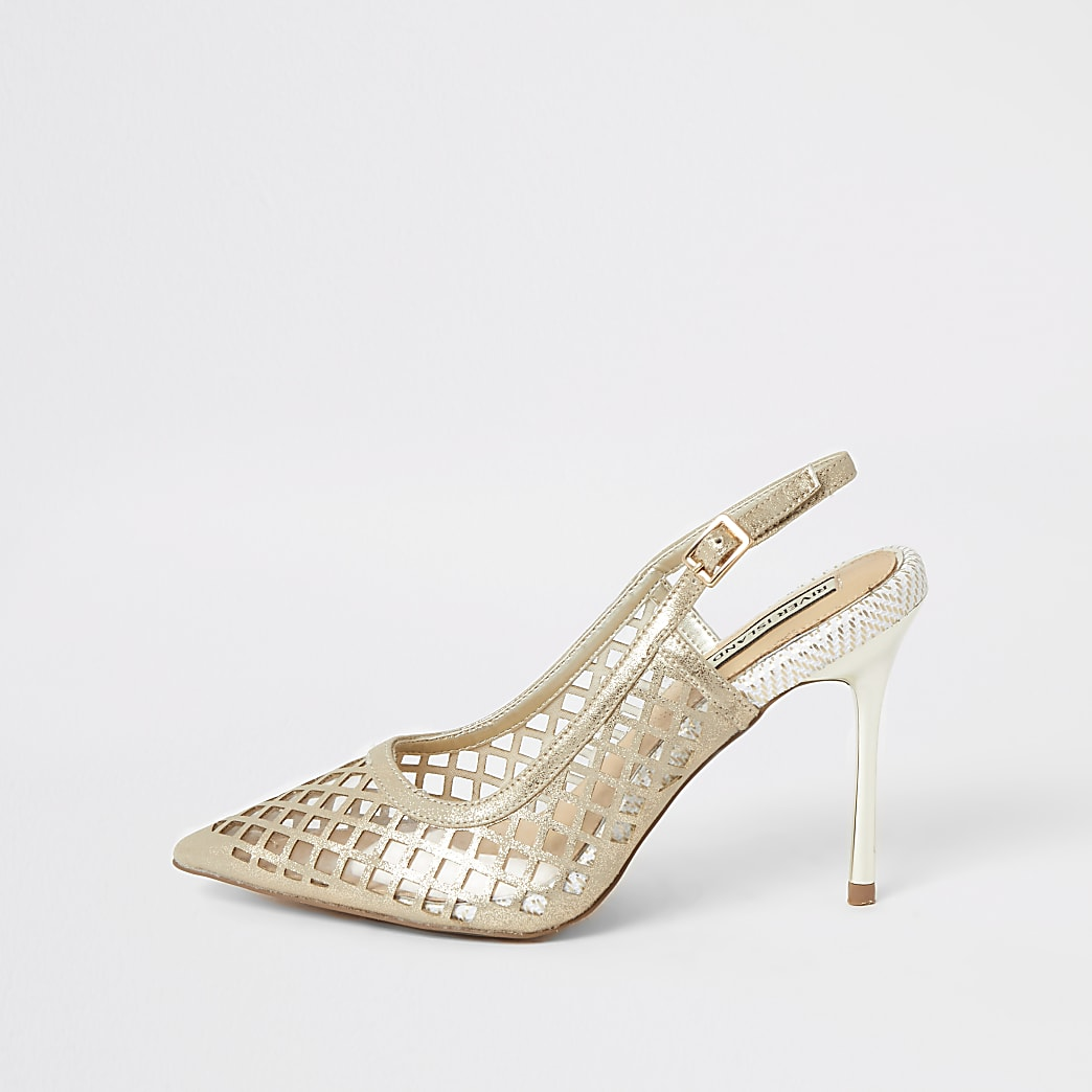 Gold mesh perspex heeled court shoes