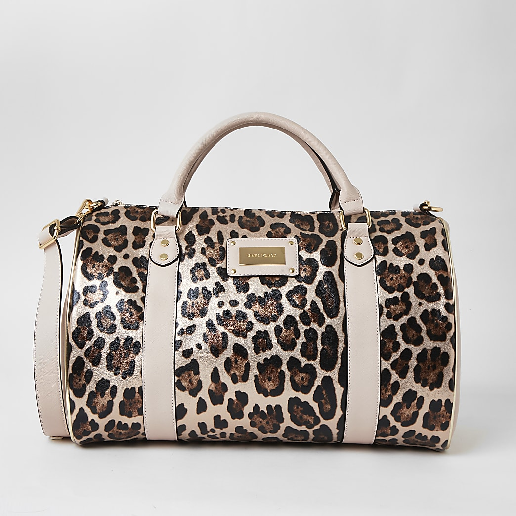 Pink leopard print weekend duffle bag