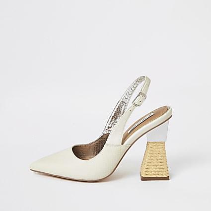 White slingback raffia heel court shoes