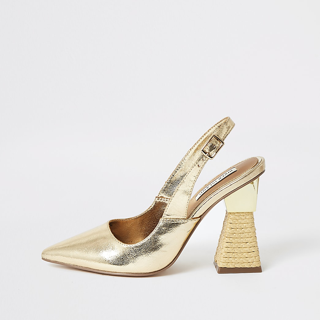 Gold slingback woven heel court shoes