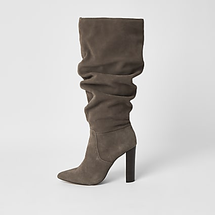 Grey suede slouch knee high boots