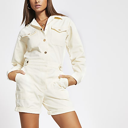 Cream twill long sleeve utility playsuit
