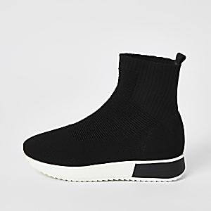 Schwarze Sock-Lauf-Sneaker